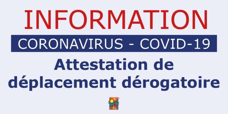 COVID-19 Attestation de déplacement dérogatoire [MAJ 06-04-20]