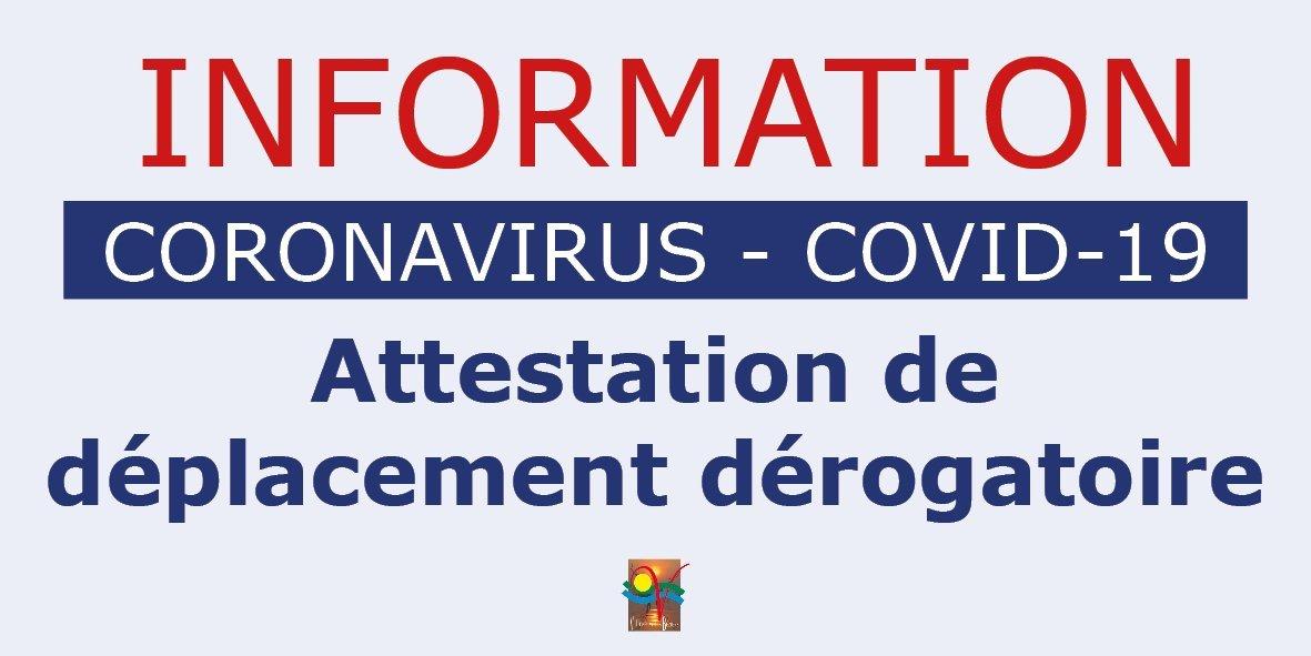 COVID-19 Attestation de déplacement dérogatoire [MAJ 24-03-20]